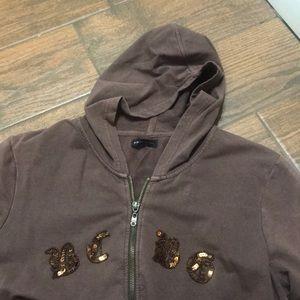 BCBG hooded sequined sweatshirt